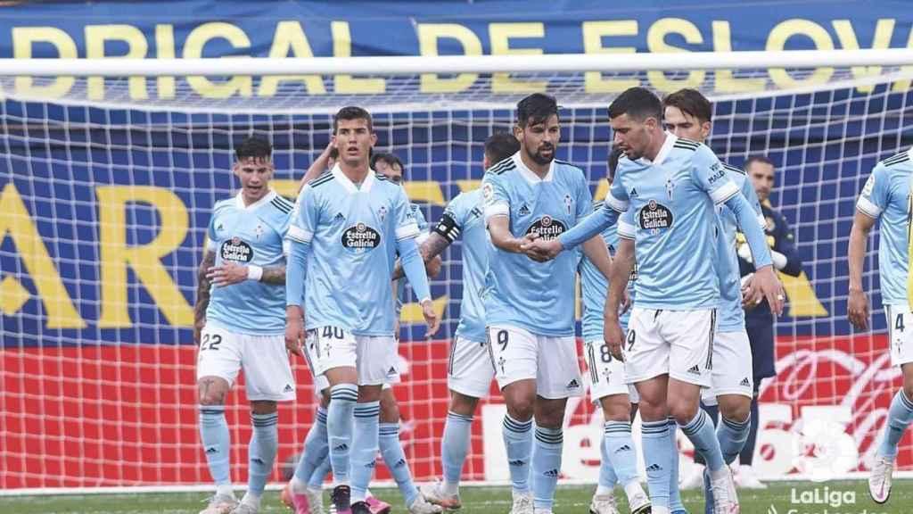 Los jugadores del Celta de Vigo celebran un gol ante el Villarreal