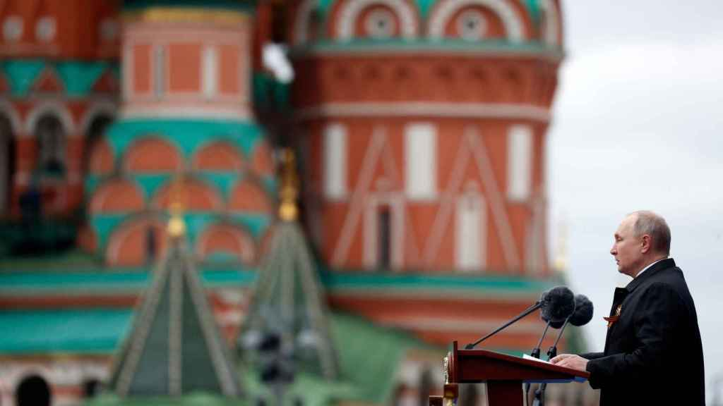 Vladimir Putin durante su discurso en el 76 aniversario de la victoria de la Unión Soviética sobre la Alemania nazi.