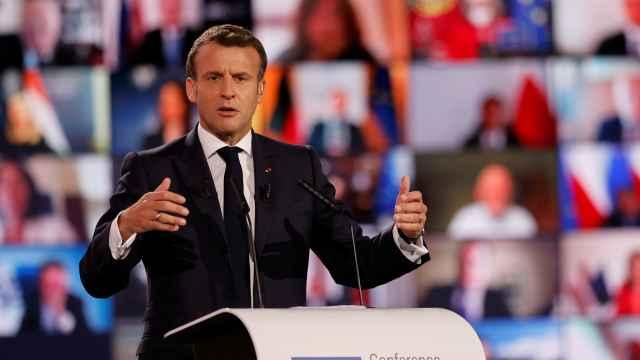 Emmanuel Macron, durante la inauguración este domingo de la Conferencia sobre el Futuro de Europa.