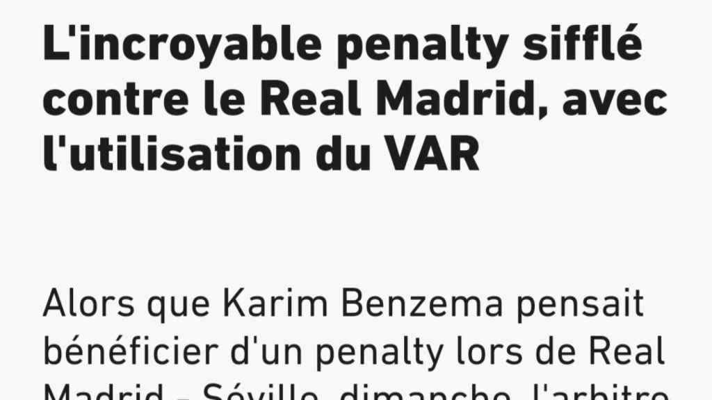 La noticia de L'Equipe sobre el penalti de Militao en el Real Madrid - Sevilla