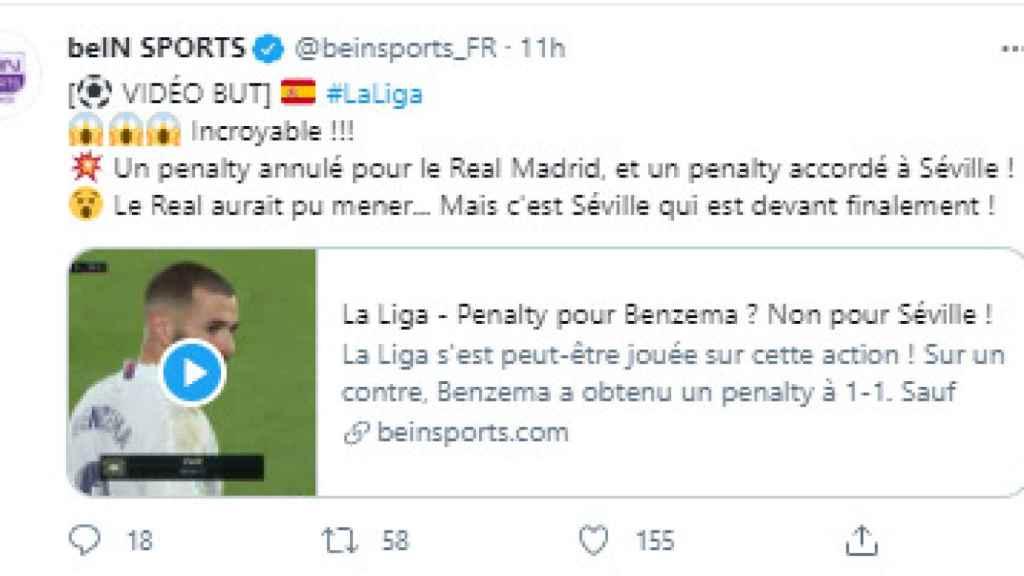 El tuit de BeIN Sports Francia sobre el penalti de Militao en el Real Madrid - Sevilla