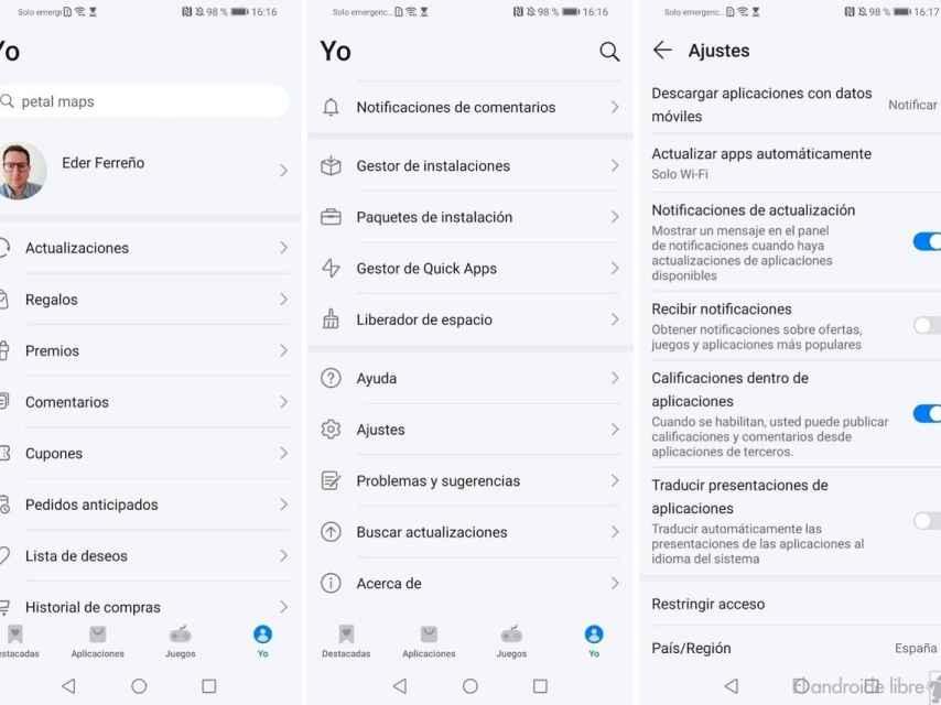 AppGallery notificaciones regalos