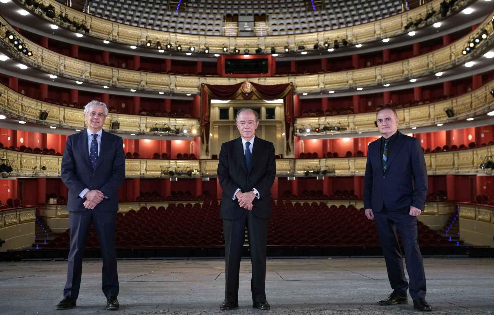 Joan Matabosch, director artístico; Gregorio Marañón, presidente, e Ignacio García-Belenguer, director general.