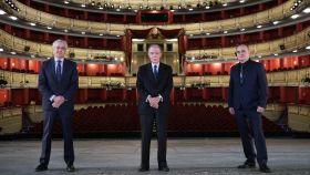 Ignacio García-Belenguer, director general de Teatro Real; Gregorio Marañón, presidente; y Joan Matabosch, director artístico.