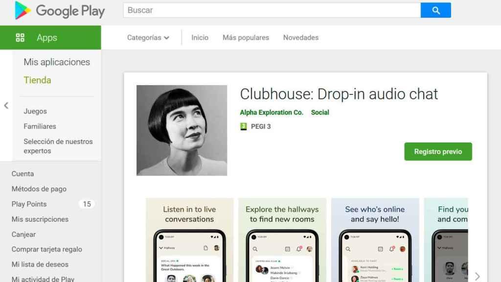 Clubhouse en la Google Play Store