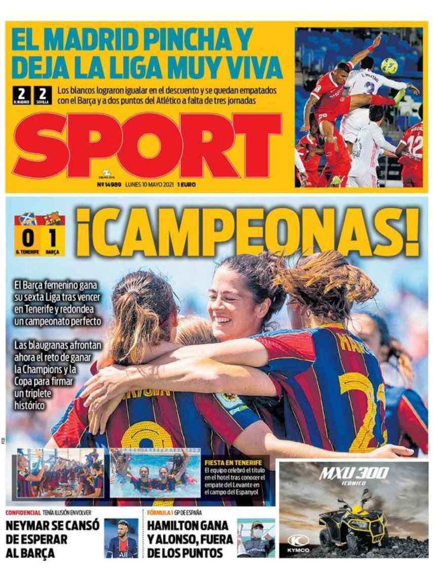 La portada del diario SPORT (10/05/2021)