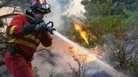 Bomberos forestal en pleno trabajo. Imagen de archivo