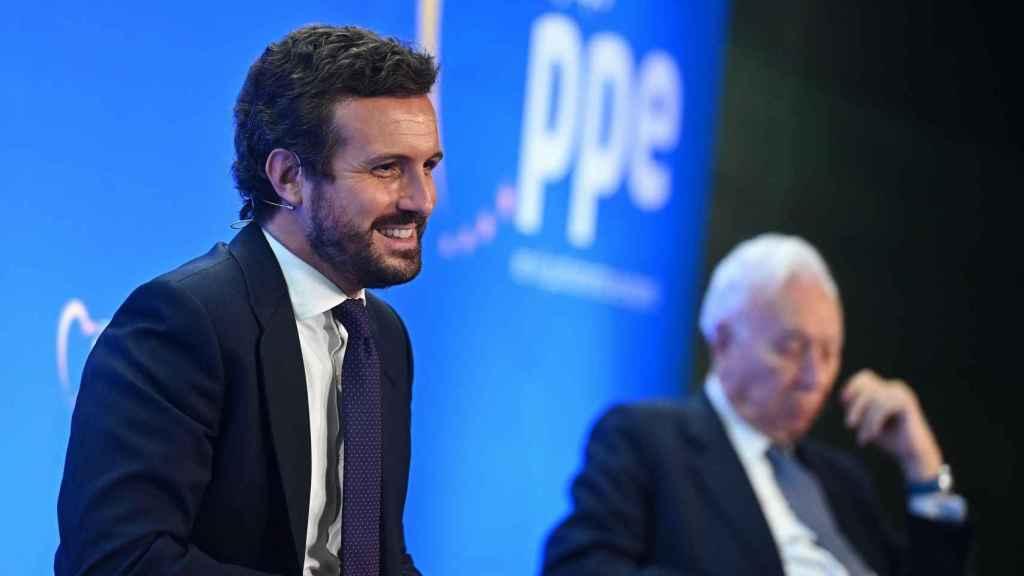 Casado, en un acto del Partido Popular Europeo, este lunes en Madrid.