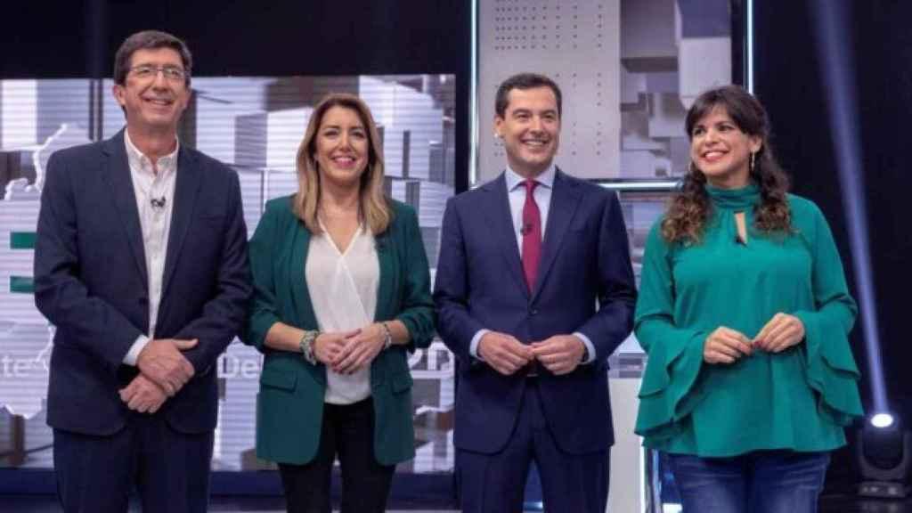 Juan Marín, Susana Díaz, Juanma Moreno y Teresa Rodríguez en el debate electoral de 2018..