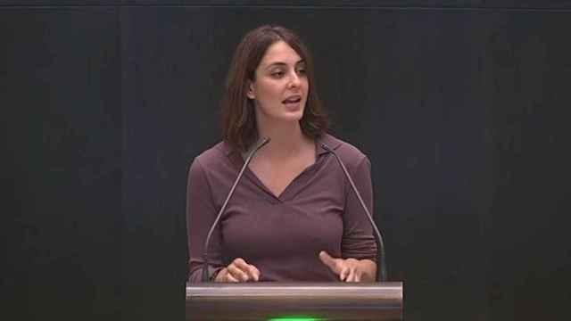 Rita Maestre, durante su intervención en el pleno del Ayuntamiento de Madrid.