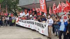 Los trabajadores de BBVA se concentran contra el ERE en Madrid, Sevilla y Valencia