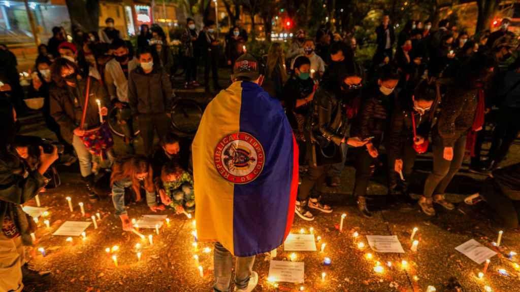 Una protesta en las calles de Bogotá.