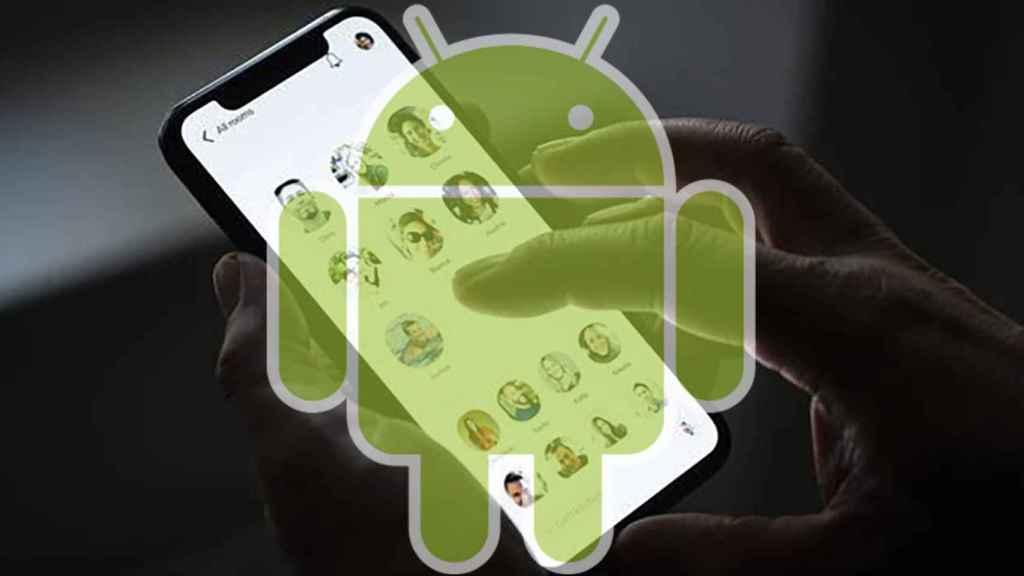 Fotomontaje con la aplicación de Clubhouse y Andy el androide.