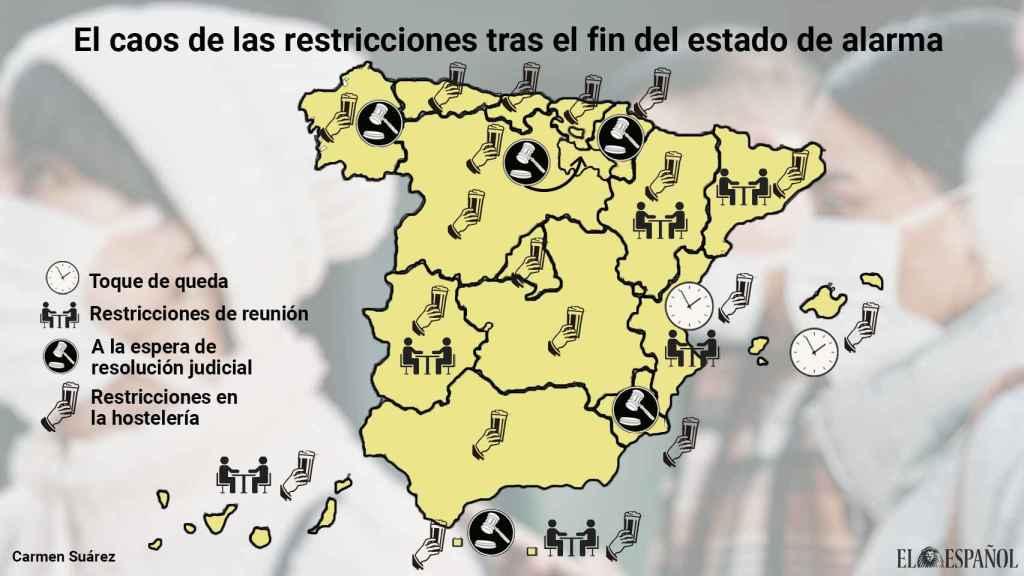 Mapa de las restricciones por comunidades autónomas.