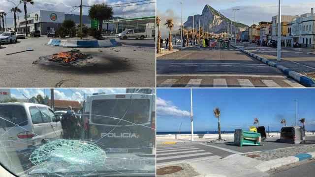 Imágenes de los disturbios de este lunes en La Línea de la Concepción (Cádiz).