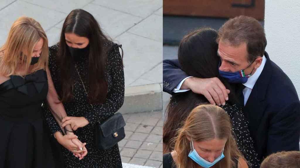 Carolina arropando a Ana y a Alessandro en el funeral de Álex Lequio.
