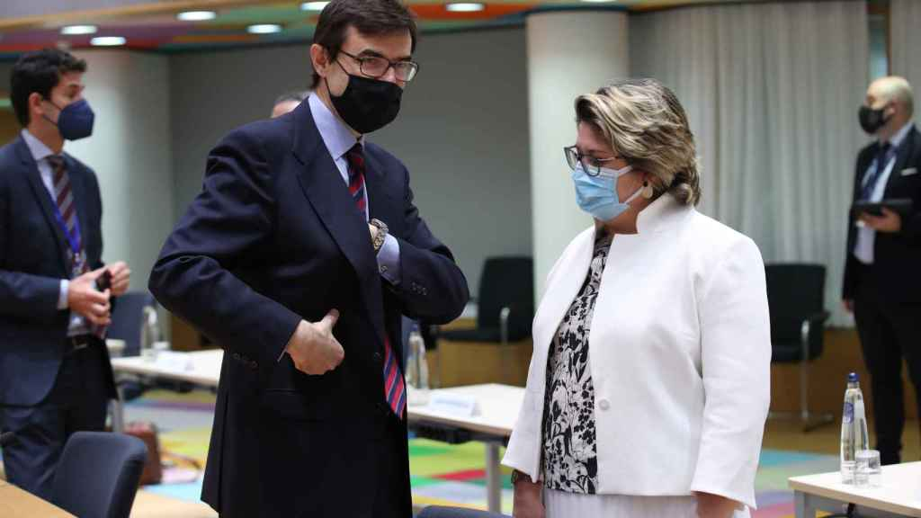 El secretario de Estado para la UE, Juan González-Barba, durante la reunión de este martes en Bruselas