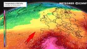 La entrada de aire cálido africano hacia el sur de España prevista para el fin de semana.