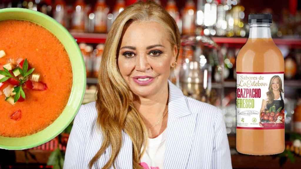 Fotomontaje de Belén Esteban junto a su nuevo gazpacho.