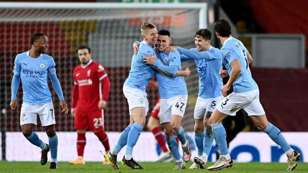Los jugadores de Manchester City celebrando un gol