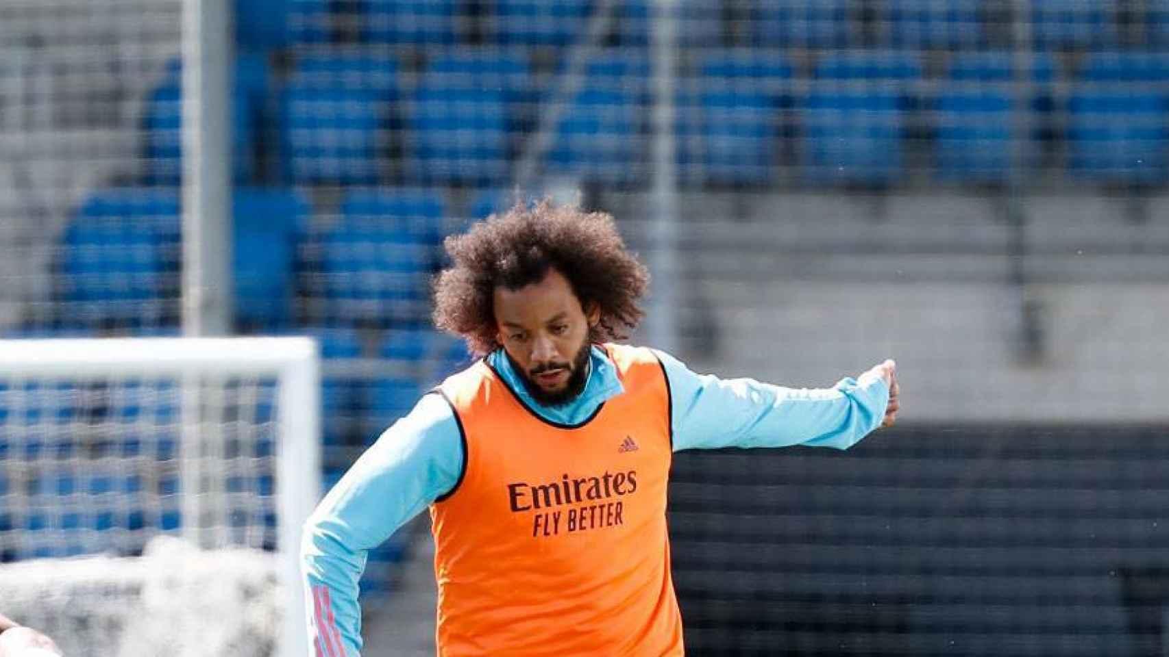 Rodrygo Goes y Marcelo, durante un entrenamiento del Real Madrid