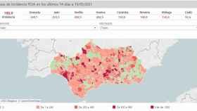 Mapa Covid de la comunidad andaluza.