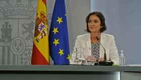 Reyes Maroto, ministra de Turismo, en la rueda de prensa posterior al Consejo de Ministros.