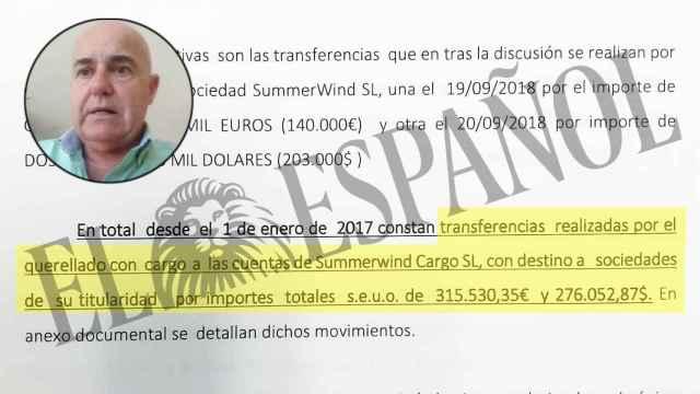 El socio único de Summerwind SL, Federico Lledó, junto a un fragmento de la querella presentada contra él.
