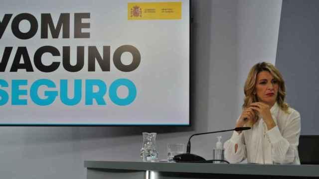 La Ministra de Trabajo Yolanda Díaz, durante un momento de la rueda de prensa posterior al Consejo de Ministros.
