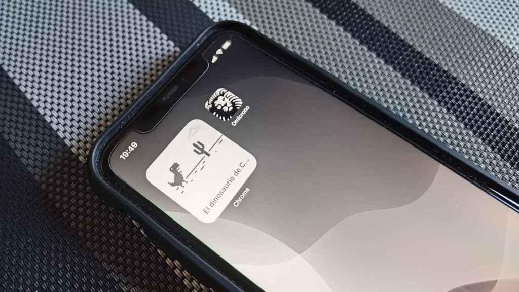 Juego del dinosaurio de Chrome en un iPhone