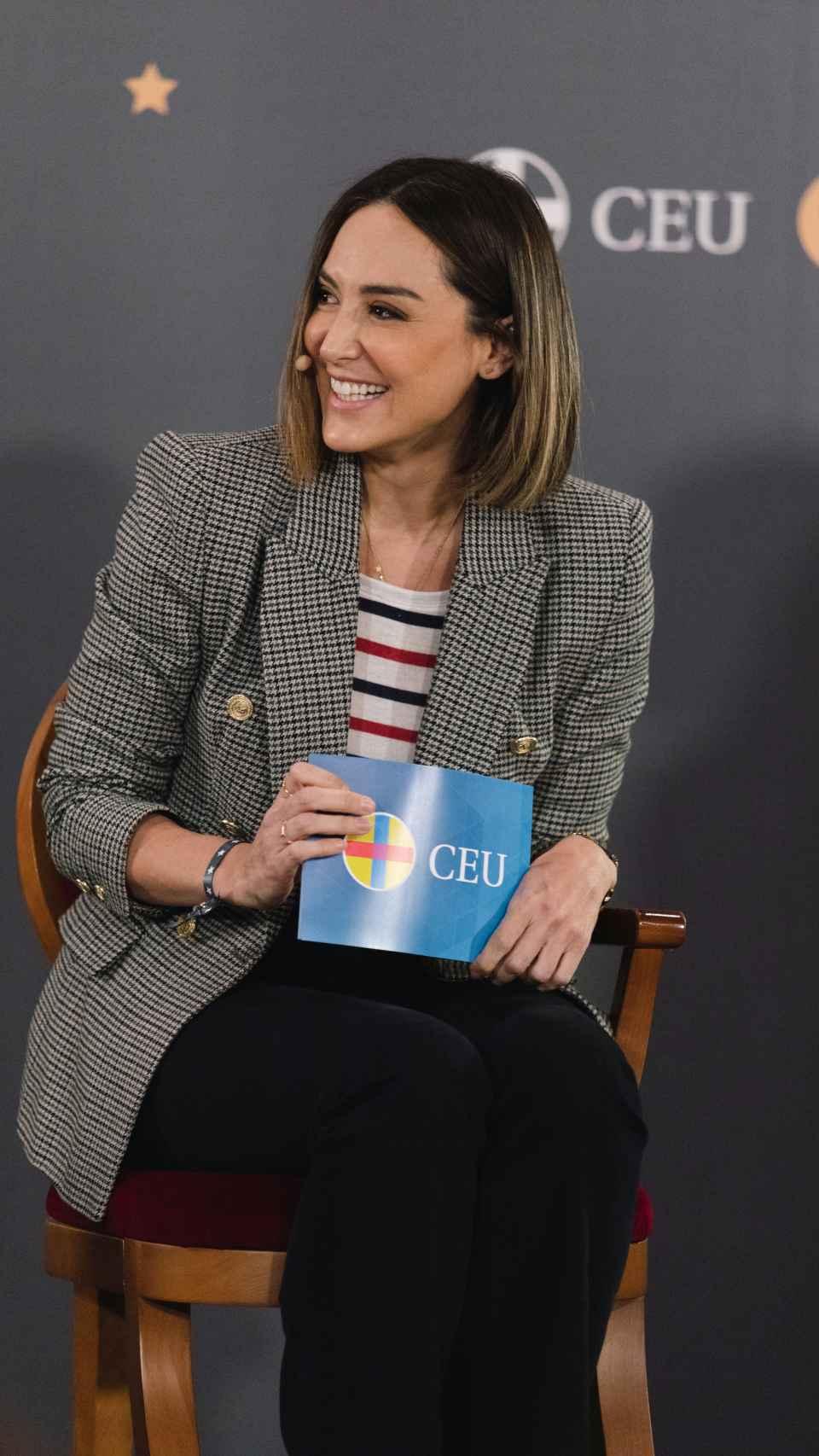 Tamara Falcó durante la presentación del libro editado por la Universidad CEU.