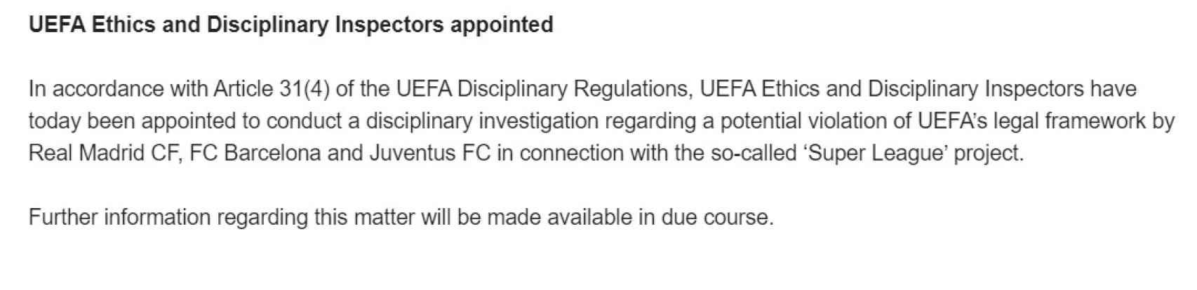 El comunicado de UEFA anunciando el inicio de la investigación contra los clubes de la Superliga