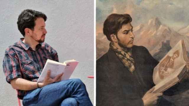 A un lado, Pablo Iglesias sin coleta, fotografiado por Dani Gago. Al otro, un retrato de Stalin de joven, por Iraklij Toidze.