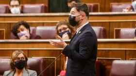 El portavoz del grupo parlamentario de ERC, Gabriel Rufián, interviene en la sesión de control al Gobierno de este miércoles.