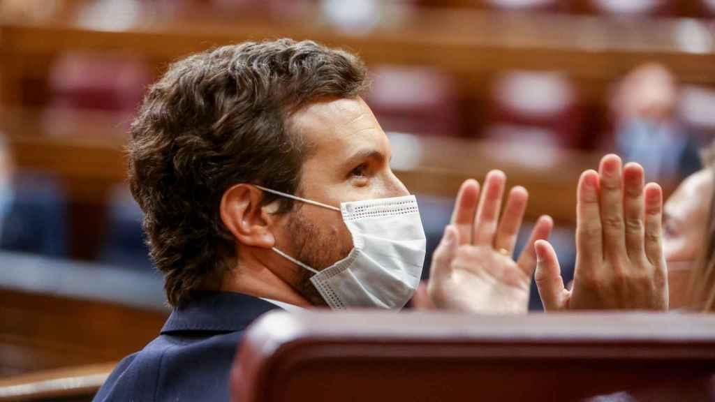 Pablo Casado, presidente del PP, durante la primera sesión de control al Gobierno tras el 4-M.