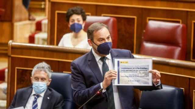 El ministro de Transportes, Movilidad y Agenda Urbana, José Luis Ábalos, en el Congreso de los Diputados.