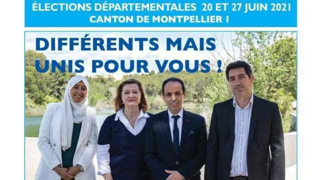 El cartel de campaña en el que Sara Zemmahi aparece con un 'hiyab'.