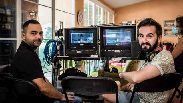 Adolfo Valor y Cristóbal Garrido en el rodaje de 'Reyes de la noche'.