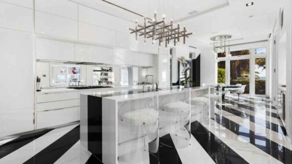 The kitchen, designed in black and white.