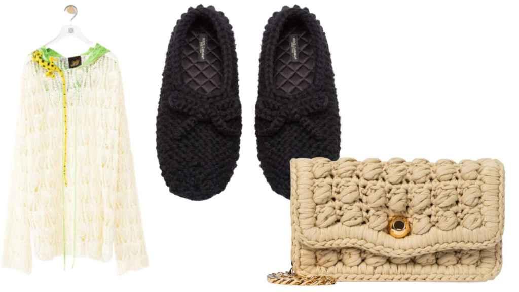 Loewe sweatshirt, Dolce & Gabbana ballerinas and Bottega Veneta bag, all done in crochet.