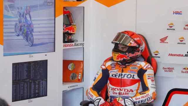 Marc Márquez, en el box del Gran Premio de España