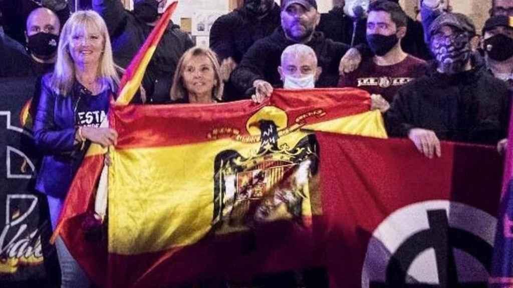 Marta durante una manifestación de ultraderecha