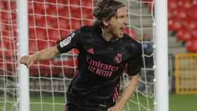 Luka Modric celebra su gol al Granada