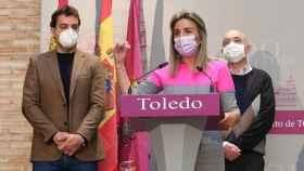 Milagros Tolón, alcaldesa de Toledo, durante la rueda de prensa que ha ofrecido este jueves (Ó. HUERTAS)