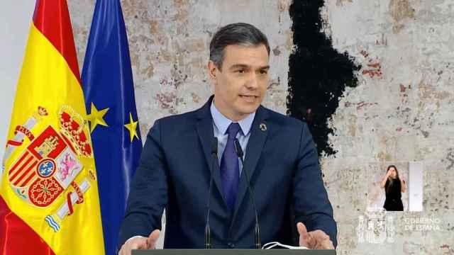 El presidente del Gobierno, Pedro Sánchez, este jueves en un acto en La Moncloa.