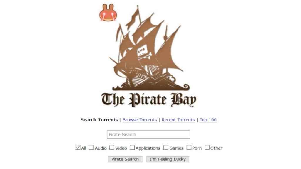La página de Pirate Bay con el nuevo logotipo