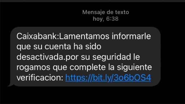 SMS falso.