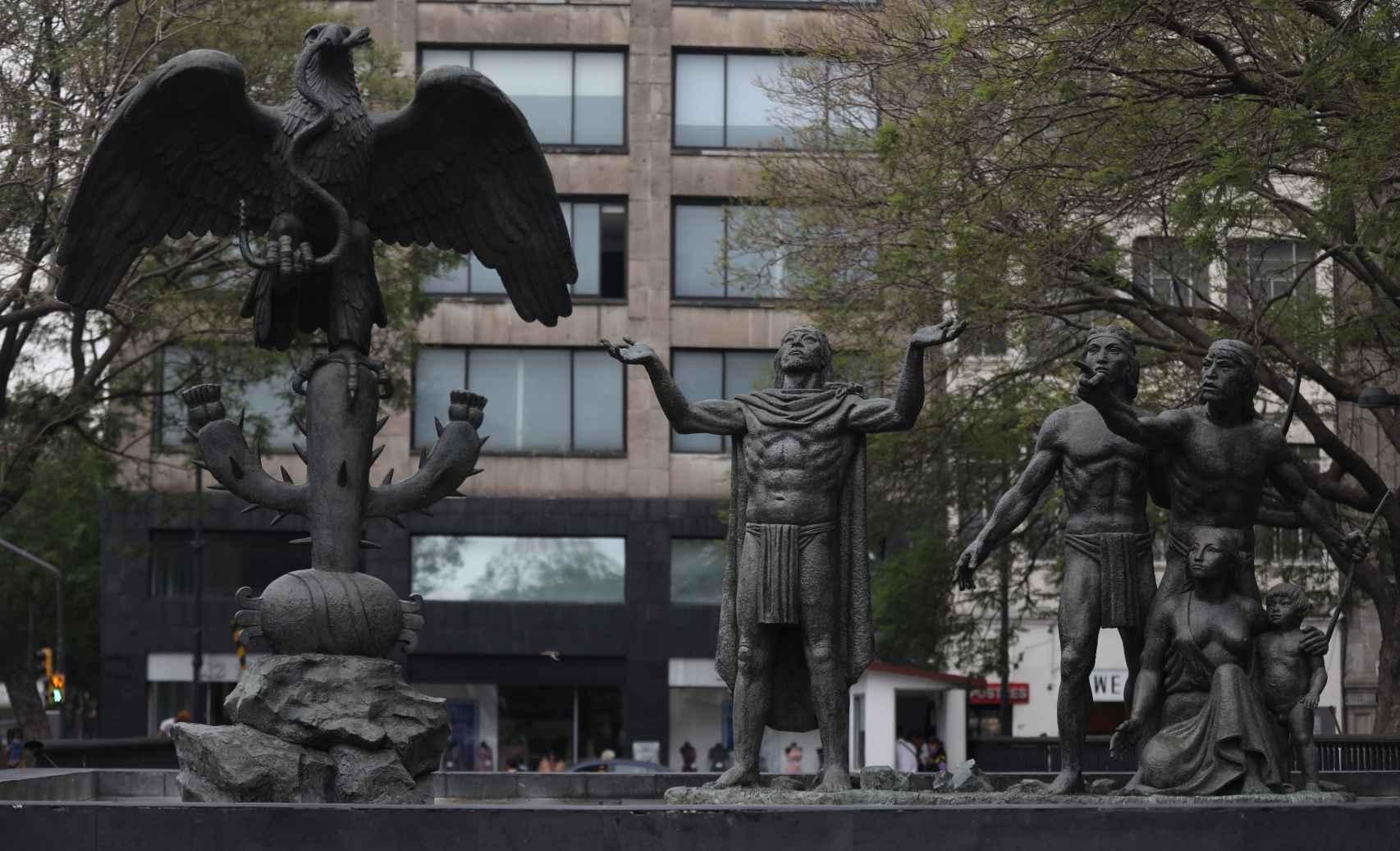 El monumento de la fundación México-Tenochtitlan.