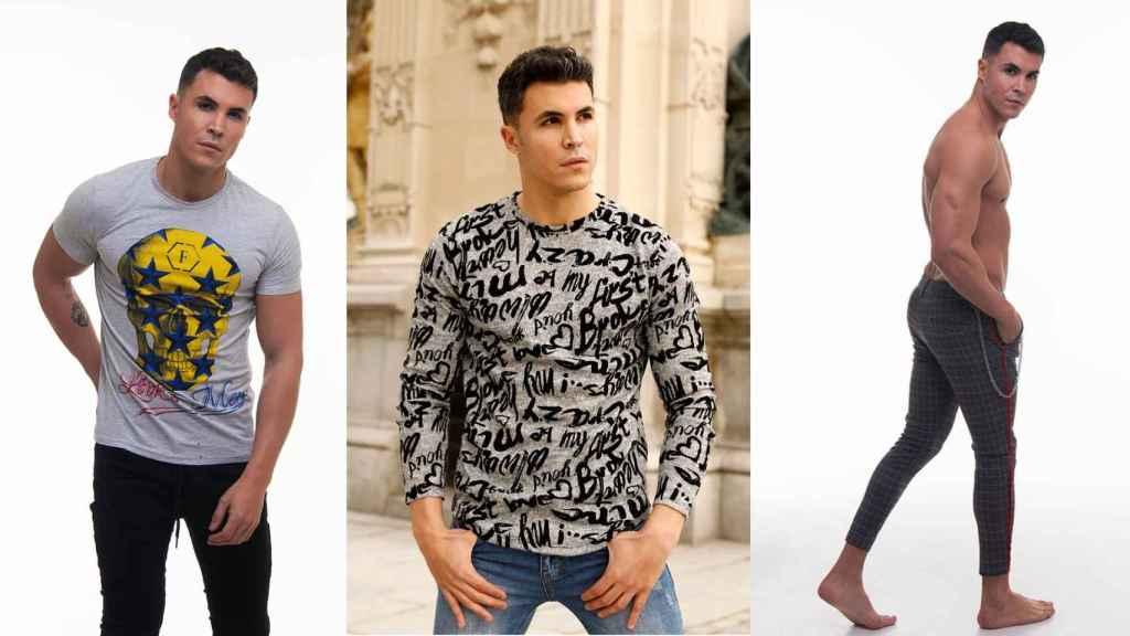 Algunas de las prendas masculinas de la marca lucidas por Kiko como modelo.