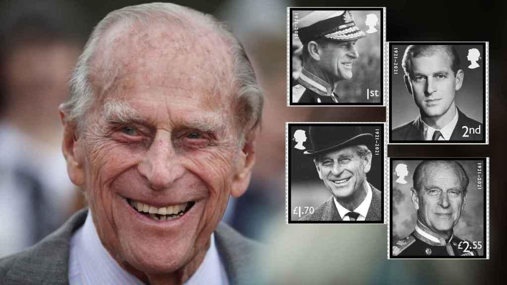 El duque de Edimburgo y los cuatro sellos homenaje, en un montaje de JALEOS.